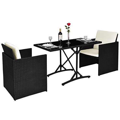 Tangkula Patio Furniture Outdoor Wicker Rattan Dining Set...