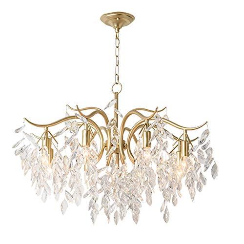 SHSM Copper Branches Modern Crystal Chandeliers Light,Adjustable E14 Ceiling Lights Fixtures Gold Flush Mount Hanging Light for Living Room Dining Room-Golden 7 Light Shades/Gold