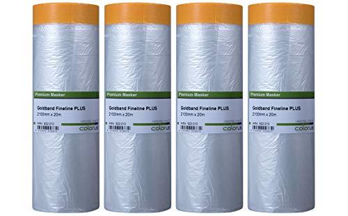 4 x Colorus Masker Tape PLUS Goldband Fineline   Lackier-Klebeband mit Folie 210 cm x 20 m   Maler-Lackierband für exakte Farbkanten   Fineline Tape für Innen und Außen   Malerfolie Abdeckfolie