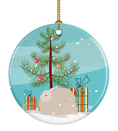 Caroline's Treasures Flauschiger Angora-Hase, Weihnachtsdekoration, Keramik, Mehrfarbig