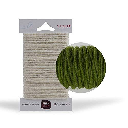 Bastelschnur Grün (+11 Farben) 5 mm x 5 m / DIY-Dekokordel, Bindfaden, Wollkordel aus reiner Wolle / STYLIT