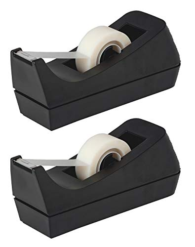 Desktop Tape Dispenser - Non-Skid Base - Weighted Tape Roll Dispenser - Perfect for Office Home School (Tape not Included) - (2-Pack)