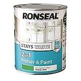 Ronseal RSLSW21MP750 Stay 2-in-1 Matt Paint, White, 750 ml