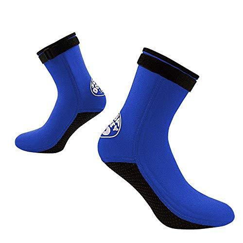 Calcetines De Neopreno Calcetines de neopreno de 3 mm de voleibol de playa de arena de fútbol calcetines de agua botines en Seco Calzado for Submarinismo Piscina ( Color : Azul , Size : XS(36-37) )