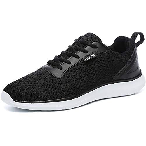 Gesimei - Tenis de malla transpirable para hombre, cómodos, gimnasio, ligeros, deportivos, para correr, Negro, 11