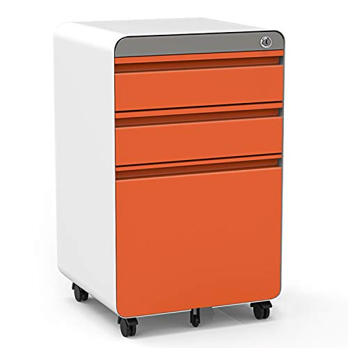3-Drawer Filing Cabinet, Metal Vertical File Cabinet with Hanging File Frame for Legal & Letter File Install-Free Anti-tilt Design and Lockable System Office Rolling File Cabinet-Orange/White