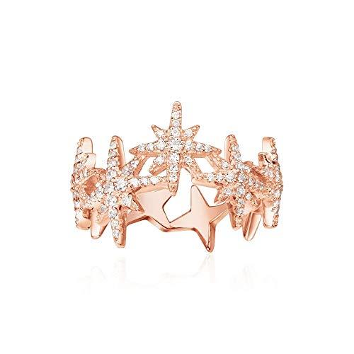 BQZB Ring Mode zirkon Stern Ringe Antike 925 Sterling Silber Schmuck Pflastern CZ Schillernde Ringe Für Frauen Meteoriten