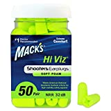 Mack's Hi Viz Soft Foam Shooting Earplugs - Most Visible Color, Easy Compliance Checks, 32dB High NRR - Comfortable, Safe Ear Plugs for Hunting, Tactical, Target Shooting (50 Pair Jar)