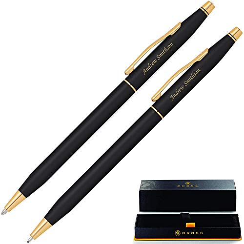 Engraved Cross Pen Set | Personalized Cross Classic Century Black Pen and Pencil Set, Gold Trim 250105. Customized By Dayspring Pens. Engraved Cross Gift Set.