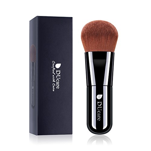 DUcare Kabuki Foundation Pinceaux Maquillage Visage 1 Pièces - Outils de Maquillage Poudre Minérale pour le Mélange Liquide - Noir