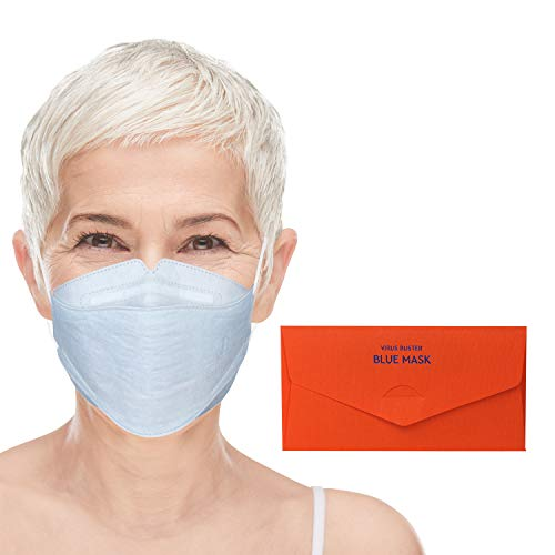 Blue Mask: Copper Infused Face Mask - Reusable Face Mask with 10 Filters, Washable Up to 10 Times | New Technology & Cutting Edge Design & Comfort From Korea