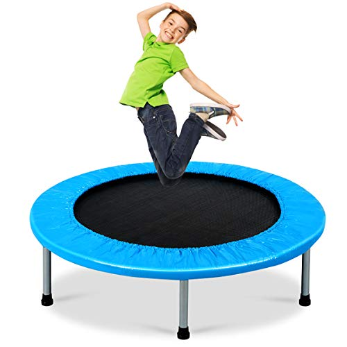 """GYMAX 38"""" Mini Trampoline Set, Active Foldable Kids Children Junior Fitness Exercise Bouncer for Indoor Outdoor Sports, 150KG Capacity (Light Blue)"""
