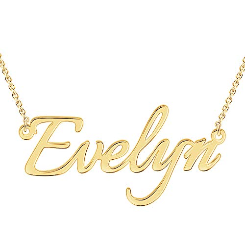 Custom Name Necklace Personalized 18K Gold Plated Nameplate Pendant Gift for Women