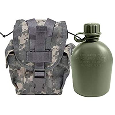 Military Outdoor Clothing Never Issued U.S. G.I. 1 Quart Olive Drab Military Canteen with Previously Issued U.S. G.I. 1 Quart ACU MOLLE Canteen/General Purpose Pouch (Pack of 1)