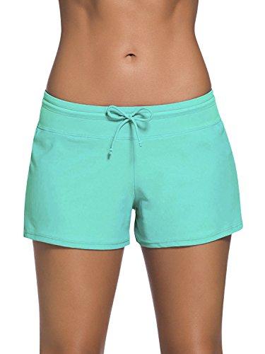 Dolamen Mujer Shorts de baño, trajes de baño Bañador Deportivo Traje de Baño Bañador de natación Bikini Para Mujer bragas pantalones cortos, Con cordón ajustable Estilo boyleg (XXX-Large, Verde)