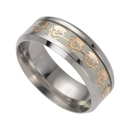 Anillos de acero inoxidable para hombres y mujeres, anillo de Halloween, esqueleto luminoso, anillo de dedo, anillos celtas anchos de acero inoxidable, clásico, gótico, punk, para adultos regalo