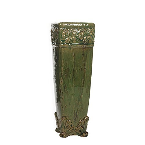 "Hosley's 16"" High Green Ceramic Floor Vase / Planter. Green Drip Glazed.Ideal Gift for Weddings, Special Occasions and for Reiki, Spa, Candle Gardens, Meditation Settings O7"