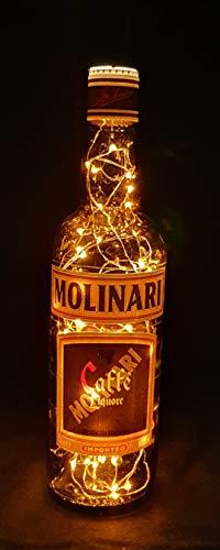 Molinari Sambuca Caffe Flaschenlampe Lampe mit 80 LEDs Warmweiß Upcycling Geschenk Idee
