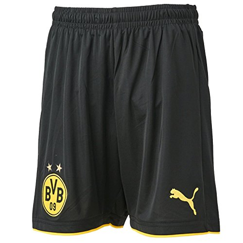 PUMA Kinder Hose BVB Replica Shorts, black-Cyber yellow, 176