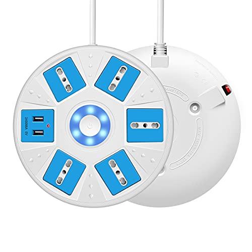 Ciabatta Multipresa ,Mscien 5 shuko prese (10A+16A) con 2 USB cavo lungo da 1,8 metri con interruttore e indicatore Forma rotonda Prolunga Elettrica per Soggiorno, Ufficio – Blu e bianco