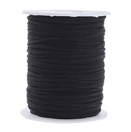Elastic String for Masks 1/8 Inch Elastic Cord for Mask Ear Loops; 3mm 50 Yards Black Round Elastic Band by Mandala Crafts