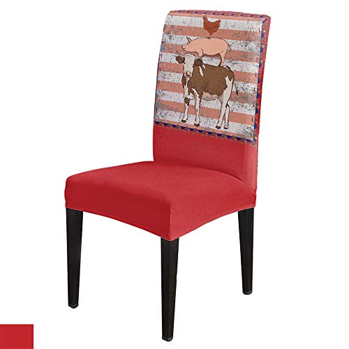 Dining Chair Covers 6 Pack,Stretch Parsons Chair Covers Removable Washable Slipcover Chair Seat Covers Protectors for Dining Room,Kitchen,Banquet,Party American Farm Poultry Cow Rooster