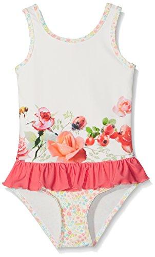 Pezzo Doro Mädchen Badeanzug mit Rüschen, Mustermix Farbe Coralle gem.Sonnenschutz UV 50+ (86/92)