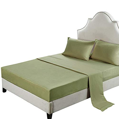 GTWOZNB Protector de Colchón | Capa Superior de algodón Transpirable Sábana de Cama lijada de Color puro-12-grass Green_152 * 203cm