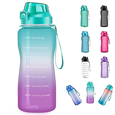 4AMinLA Motivational Water Bottle 2.2L/64oz Half Gallon Jug with Straw and Time Marker Large Capacity Leakproof BPA Free Fitness Sports Water Bottle