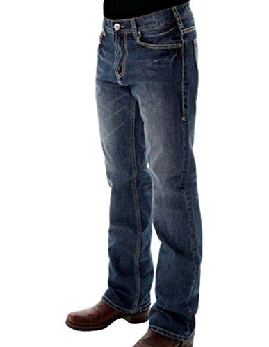 B. Tuff Western Denim Jeans Mens HOOAH 35 Long Medium Wash MHOOAH
