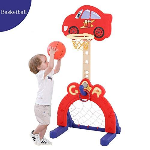 Basketballkorb fürs Zimmer, Einstellbare Höhe 45-65 Zoll, 3-in-1-Sportaktivitätszentrum mit Fußball, Fußballtor, Ringwurf