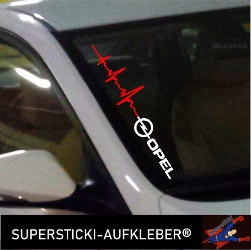 SUPERSTICKI®Winschutzscheibe Aufkleber ca.55cm Herzschlag Opel Autoaufkleber Tuning Decal A748 aus Hochleistungsfolie Aufkleber Autoaufkleber Tuningaufkleber Hochleistungsfolie für