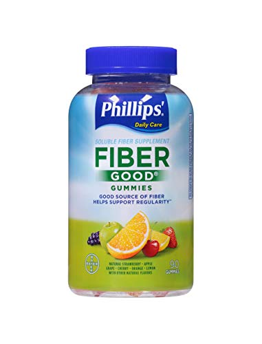 Phillips' Fiber Good Gummies, 90 Count, Inulin Soluable Fiber Gummy with Natural Flavors to Help Support Regularity*
