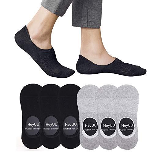 HeyUU 3+3 Paar Herren & Damen Baumwolle Füßlinge Unsichtbare Sneaker Socken Mit 8 Rutschfeste Silikonstreifen(3x Schwarz+3x Grau,43-46)