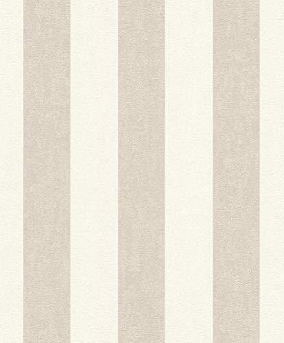 rasch Tapete 402902 aus der Kollektion Uptown – Vliestapete in Beige mit cremefarbenen Streifen – 10,05m x 53cm (L x B)