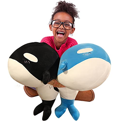 Oceania Giant Orca Blackfish Plush Blue Whale Toy 23.6'' Long Big Killer Whale Soft Hugging Pillow, Decker Whale Shark Plushie Stuffed Animal Dolls Toddler Kids Marine Life Fish Gifts