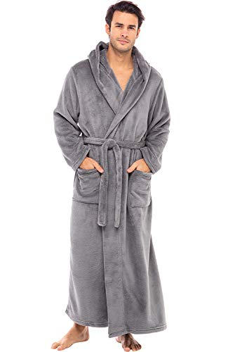 Alexander Del Rossa Men's Warm Fleece Robe with Hood, Big and Tall Bathrobe, Large-XL Steel Gray (A0125STLXL)