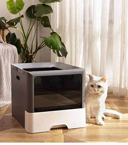 CATISM Caja de Arena para Gatos con Tapa Bandeja de Arena para Gatos Plegable Grande con Inodoro para Mascotas de Entrada Superior Que Incluye Pala Y conectar