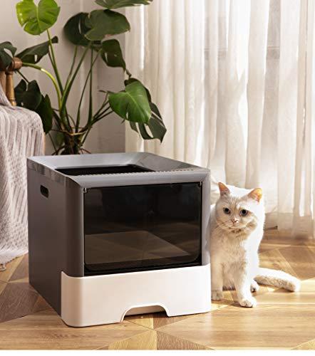 CATISM Lettiera per gatti grande lettiera per gatti a doppia porta ingresso frontale e uscita dall'alto lettiera grande per gatti con paletta e vassoio retrattile