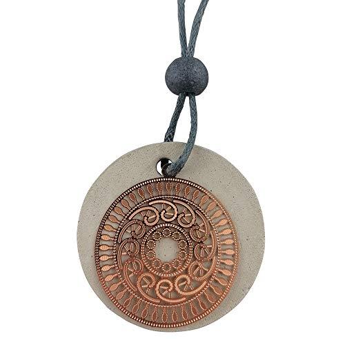 BTON - Bettonkette für Damen aus hochwertigem handgegossenem Beton mit Metallanhänger, Größenverstellbar (Bronze)
