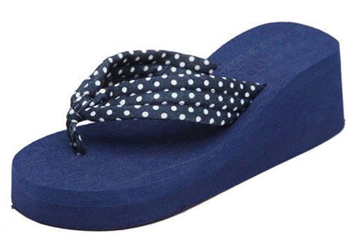 Dayiss®Süß Damenschuhe gepunktet Punkten Plateausandaletten Zehntrenner Sandalen Keilabsatz Freizeit Sandaletten Schuhe Strandschuhe (38, Blau)