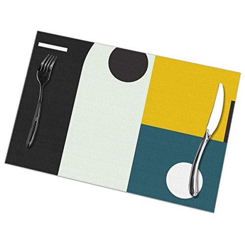 Uliykon Bauhaus Age Tischsets für Esstisch, waschbar, hitzebeständig, 30,5 x 45,7 cm, 6er-Set