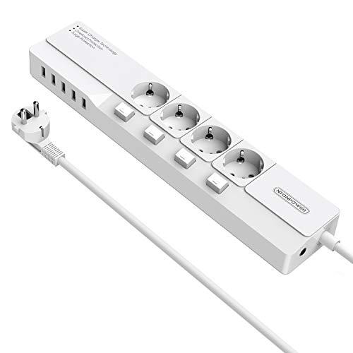 NTONPOWER Regleta con Interruptor Individual, 4000W 16A, 5 Puertos de USB y 4 Tomas, Alargadora Cable de 1.5m, Cubierta de Seguridad para Niños para Oficina en Casa–Blanco