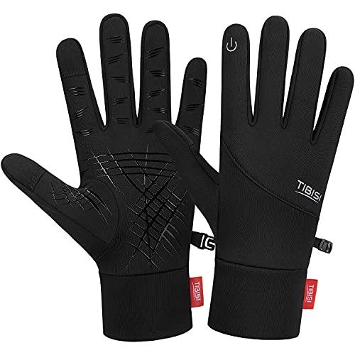 Tmani Winter Running Gloves Touch Screen, Thermal Cycling Gloves Thin Lightweight Walking Gloves Anti-Slip Mens Work Gloves for Men Women Ladies, Liner Gloves for Skiing Gardening Motorbike Driving