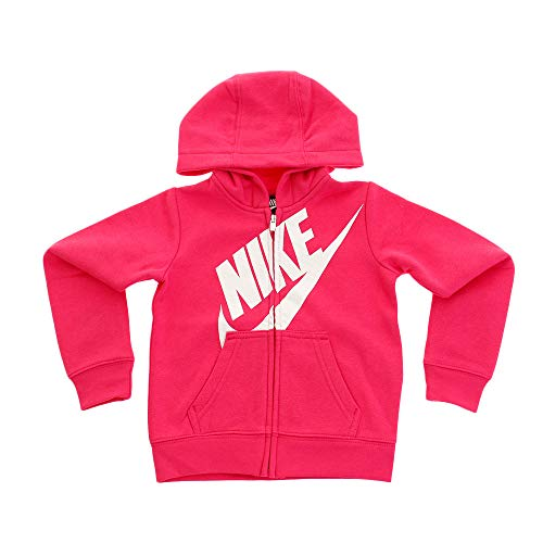 Nike Kids Baby Girl's Futura Full Zip Hoodie (Toddler) Rush Pink 2T Toddler