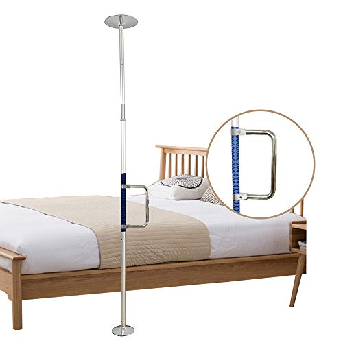 Security Pole Handicap Grab Bars Floor to Ceiling Transfer Pole Bed Assist Bar for Seniors Elderly Toilet Bars Shower Safety Stand Assist Bed Grab Bar Standing Pole Safety Transfer Bar for Bed