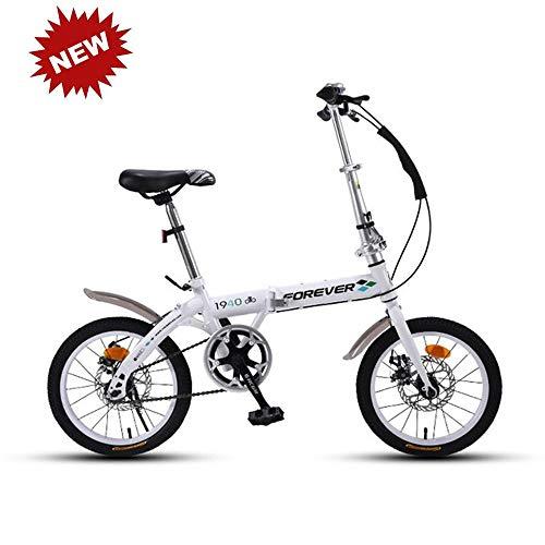 CHAIJY Bicicleta Plegable para Estudiantes Bicicleta de montaña Bicicleta de amortiguación Bicicleta Singlespeed Frenos de Disco Doble Viajeros urbanos Ligeros para Estudiantes y Adultos,White