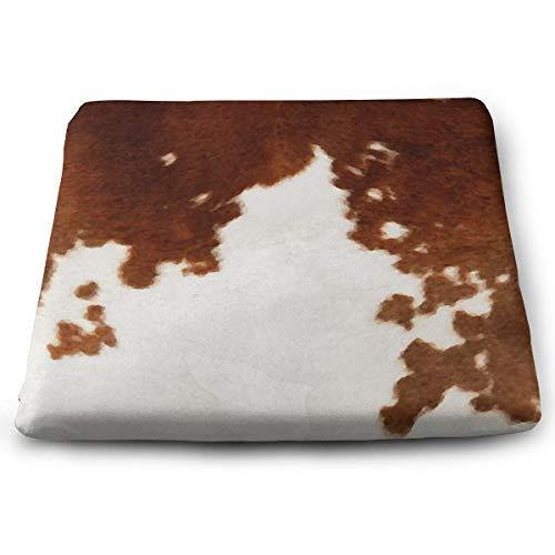 Braunes Kuhfell Aquarell Solid Square Kissen Sitzkissen Stuhl Pad Tatami Bodenkissen für Yoga Meditation Wohnzimmer Balkon Büro Outdoor, 38,1 x 34,8 cm