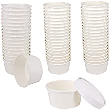 Belinlen 50 SET 6 OZ Disposable White Ice Cream Cups with Lids Medium Hot and Cold To Go Cups Paper Cup Takeout Food Container