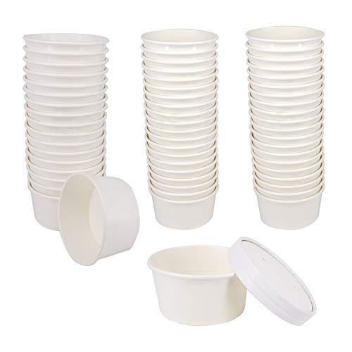 Belinlen Einweg-Eisbecher, 170 ml, Weiß 6 oz 50 Tassen + 50 Deckel